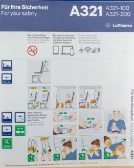 Lufthansa A321 Safety Card