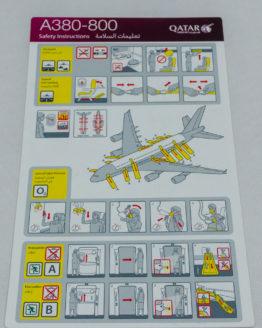 Qatar Airways A380 Safety Card