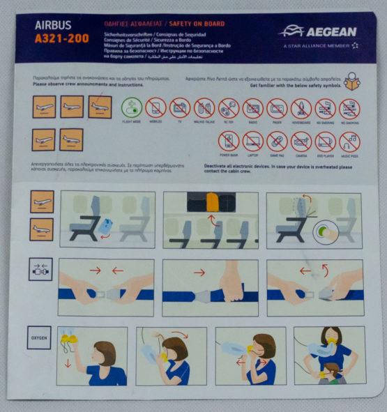 Aegean A321 safety Card